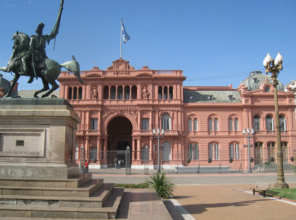 """The famous balcony of the """"Casa Rosada"""" in Buenos Aires"""